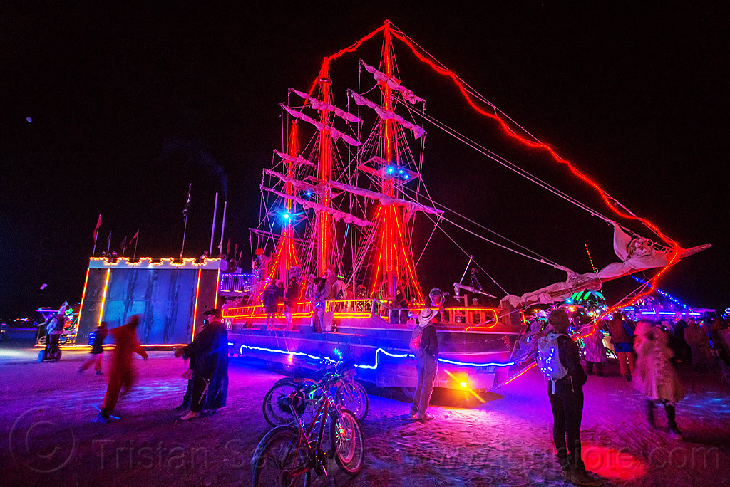 art ship monaco at night - burning man 2015, art car, art ship monaco, bicycles, boat, burning man, glowing, night, tall ship