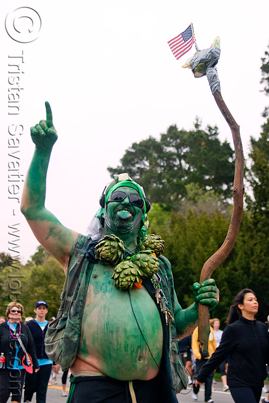 artichoke green man, artichokes, bay to breakers, body art, body paint, body painting, costume, festival, footrace, green man, street party