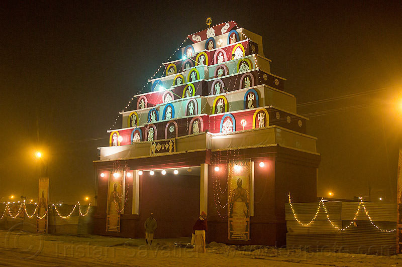 ashram gate at kumbh mela 2013, hindu pilgrimage, hinduism, india, maha kumbh mela, night
