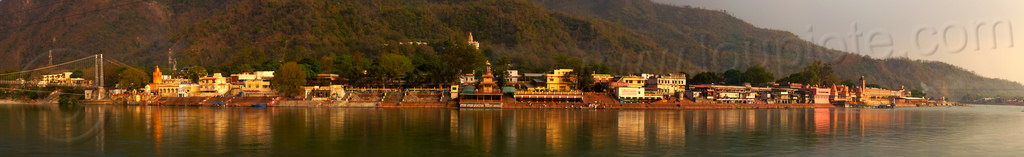 ashrams and ghats on the ganges river in rishikesh (india), ashrams, ganga river, ganges river, ghats, panorama, ram jhula, reflection, rishikesh, suspension bridge, water