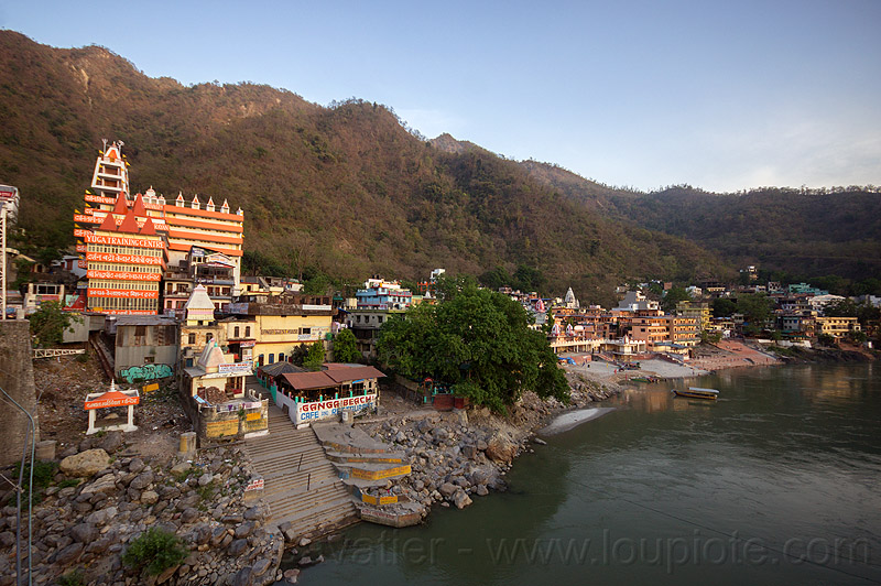 ashrams and ghats on ganges river in rishikesh (india), ashrams, buildings, ganga, ganges river, ghats, india, rishikesh