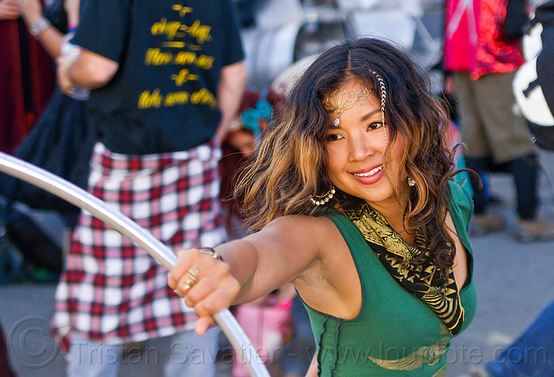 asian girl hooping, asian woman, burning man decompression, forehead jewelry, hand, hooper, hooping, hula hoop