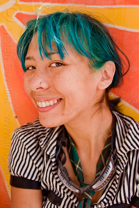asian girl with green hair - tz rogers, asian woman, burning man, green hair, tz