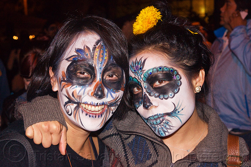 asian women with mexican-style skull makeup, asian woman, asian women, day of the dead, dia de los muertos, face painting, facepaint, halloween, joy, lauren, night, sugar skull makeup, two