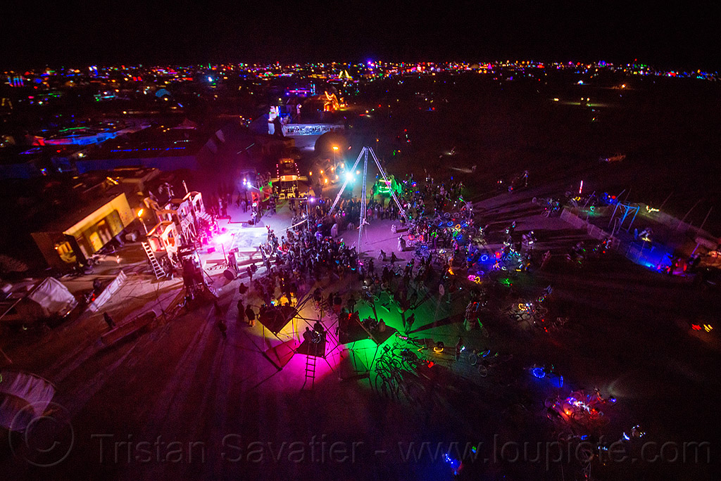 at night - burning man 2015, burning man, glowing, night, sextan tower, sin city