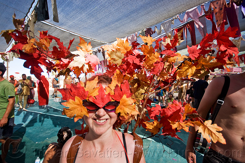 autumn leaves costume hat, autumn, center camp, costume, fall, hat, headdress, headwear, mapple leaves, woman
