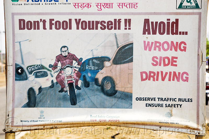 avoid wrong side driving - sign (india), billboard, cars, india, motorcycle, road sign, safety