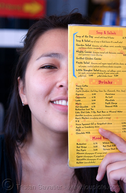aya (san francisco), aya, half, menu, woman, yellow
