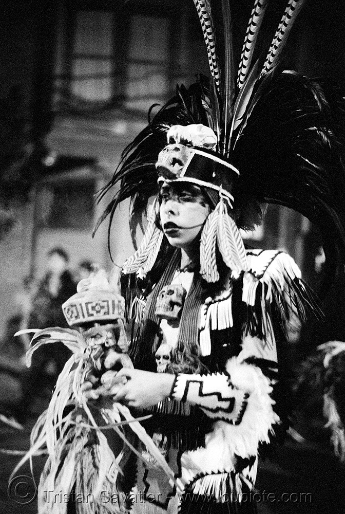 aztec dance group 'xolo, sacred dance' - dia de los muertos - halloween (san francisco) - eva, aztec dancer, costumes, day of the dead, feathers, hat, makeup, mission, night, p3200tmz, people, pushed, the mission, tmax