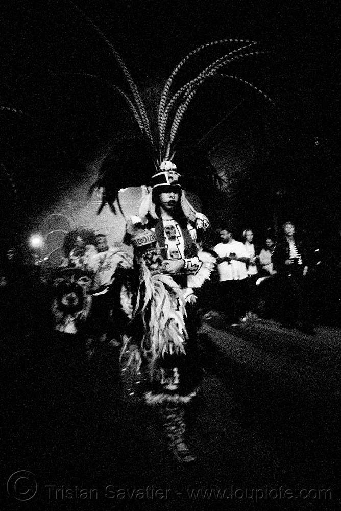 aztec dance group 'xolo, sacred dance' - dia de los muertos - halloween (san francisco) - eva, aztec dancer, costumes, day of the dead, dia de los muertos, eva, feathers, halloween, hat, makeup, night, p3200tmz, pushed, sacred dance, tmax, xolo
