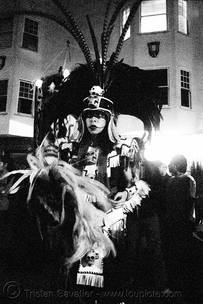 "aztec dance group ""xolo, sacred dance"" - dia de los muertos - halloween (san francisco) - eva, aztec dancer, costumes, day of the dead, feathers, hat, makeup, mission, night, p3200tmz, people, pushed, the mission, tmax"
