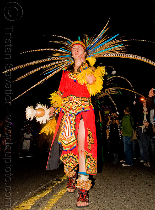 aztec dancer with feathers - dia de los muertos - halloween (san francisco), costume, day of the dead, makeup, mexican, night, people, woman