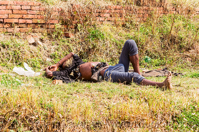 baba (hindu holy man) sleeping on grass (nepal), baba, bare feet, beard, bells, bhaktapur, grass, hinduism, lying down, man, resting, sadhu, sleeping, turf