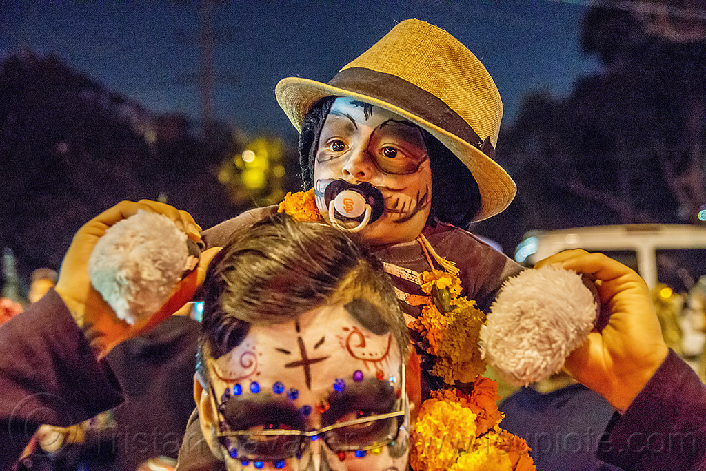 baby boy with skull makeup and fedora hat - dia de los muertos, child, day of the dead, face painting, facepaint, father, gangster hat, halloween, kid, man, night, pacifier, people, son, sugar skull makeup, toddler