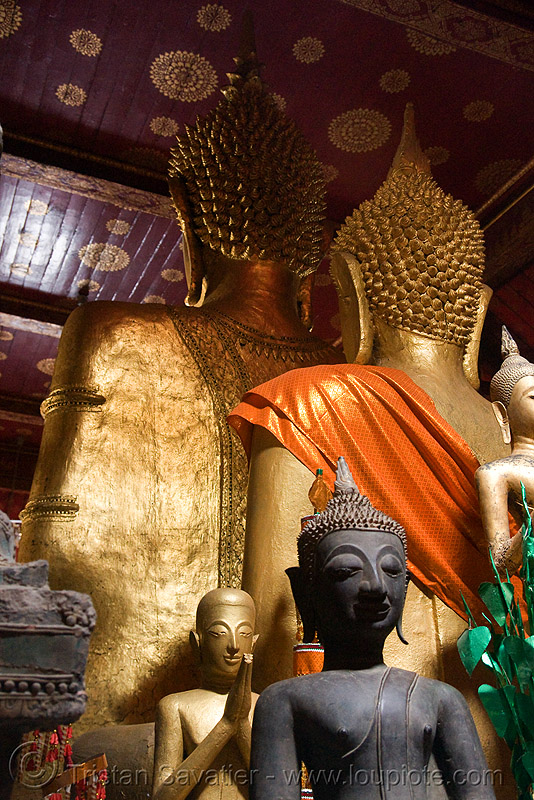 back of giant buddha statues - luang prabang (laos), buddha image, buddha statue, buddhism, buddhist temple, cross-legged, golden, golden color, sculpture