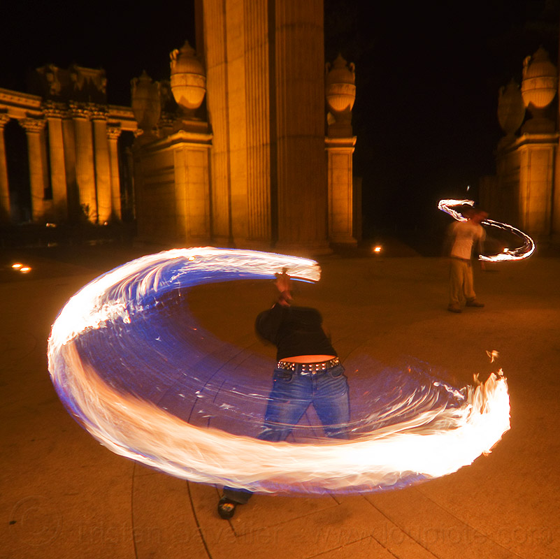 back stretching while spinning fire rope, ally, fire dancer, fire dancing, fire jumping rope, fire performer, fire rope, fire spinning, flames, night, palace of fine arts, woman