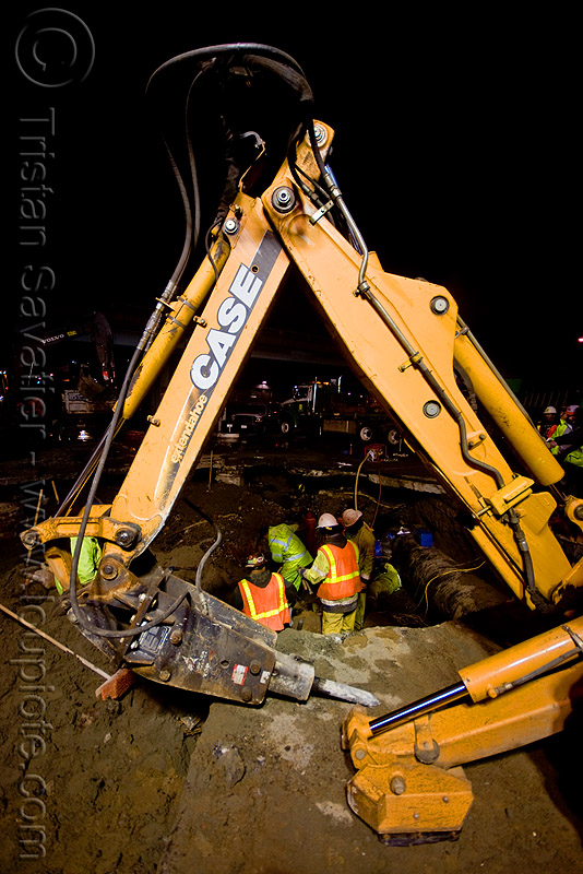 backhoe with hydraulic hammer - utility workers fixing broken water main (san francisco), backhoe, case, construction workers, extandahoe, hetch hetchy water system, high-visibility vest, hydraulic arm, hydraulic attachment, hydraulic hammer, night, pipeline, reflective vest, repairing, safety helmet, safety vest, sfpuc, sink hole, utility crew, utility workers, water department, water main, water pipe
