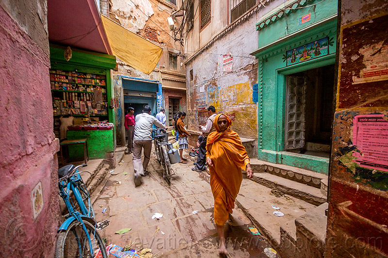 backstreet in old varanasi (india), bicycles, bikes, people, shops, street