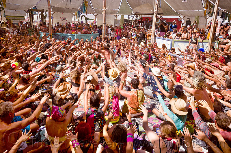 balinese monkey chant - burning man 2012, center camp, crowd, hands, hands up, kecak, ketjak, people, raised hands
