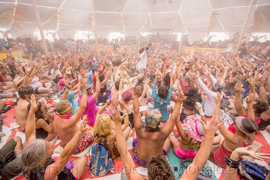 balinese monkey chant - burning man 2015, burning man, center camp, crowd, hands up, kecak, ketjak, monkey chant, raised hands