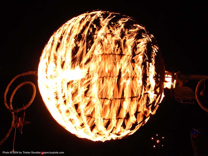 ball of fire - burning man 2004, art installation, ball, burning man, fire, flaming lotus, night, sphere