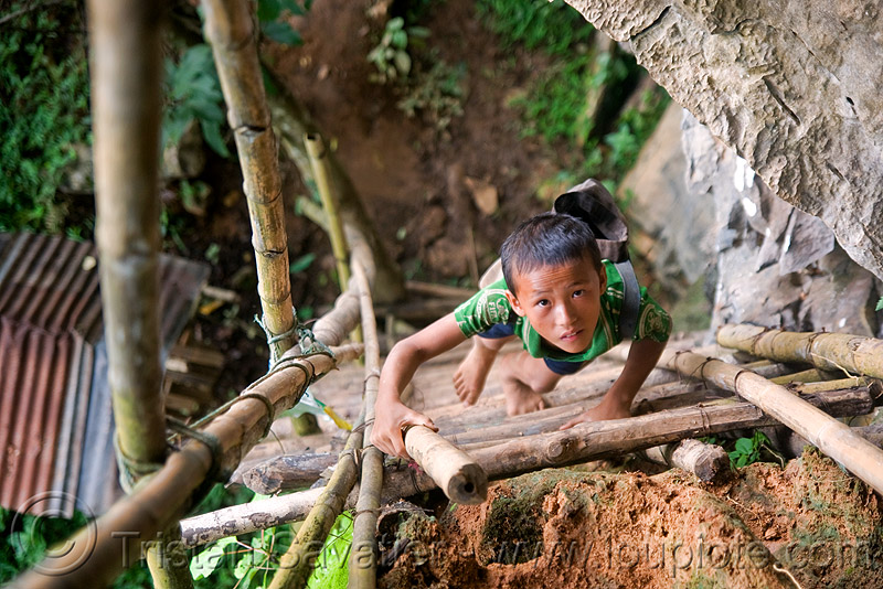 bamboo ladder to cliff cave near vang vieng (laos), bamboo ladder, boy, caving, child, cliff, guide, kid, laos, natural cave, spelunking, vang vieng