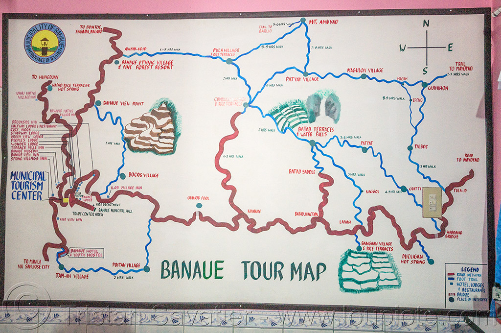 banaue trail map (philippines), banaue, hiking, map, philippines, trails
