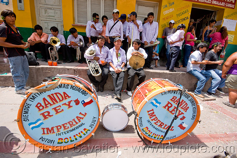 banda rey imperial from potosi - carnaval - carnival in jujuy capital (argentina), andean carnival, drums, man, marching band, noroeste argentino, people, san salvador de jujuy