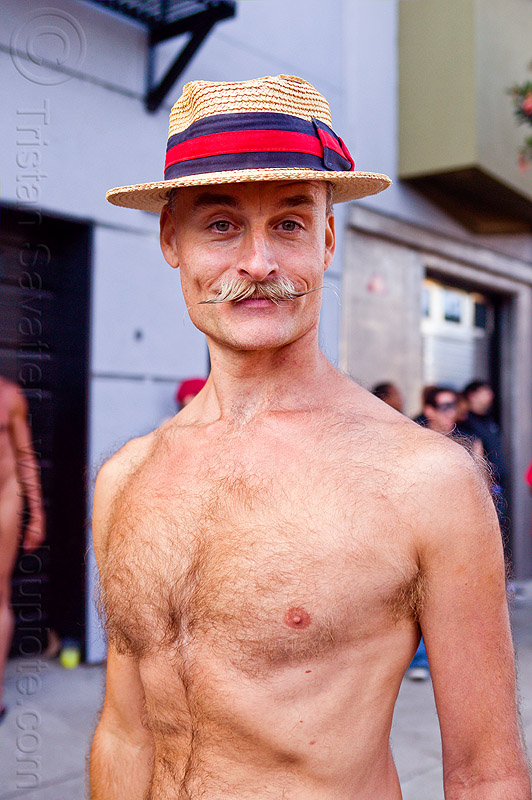 mustache and straw hat, bare chest, folsom street fair, man, moustaches, mustaches, randal smith, straw hat