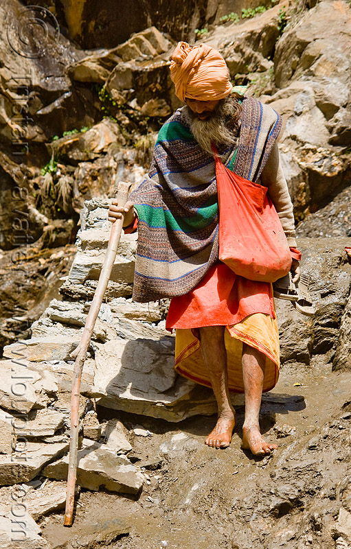 bare-feet sadhu (hindu holy man) on trail - amarnath yatra (pilgrimage) - kashmir, amarnath cave, amarnath yatra, baba, bare feet, hiking cane, hindu holy man, hinduism, kashmir, mountain trail, mountains, pilgrim, pilgrimage, sadhu, trekking, walking stick, yatris, अमरनाथ गुफा