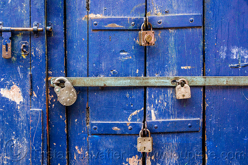 barred door with padlocks (india), almora, barred door, blue door, closed, india, locked door, padlocks, paint, painted, wooden