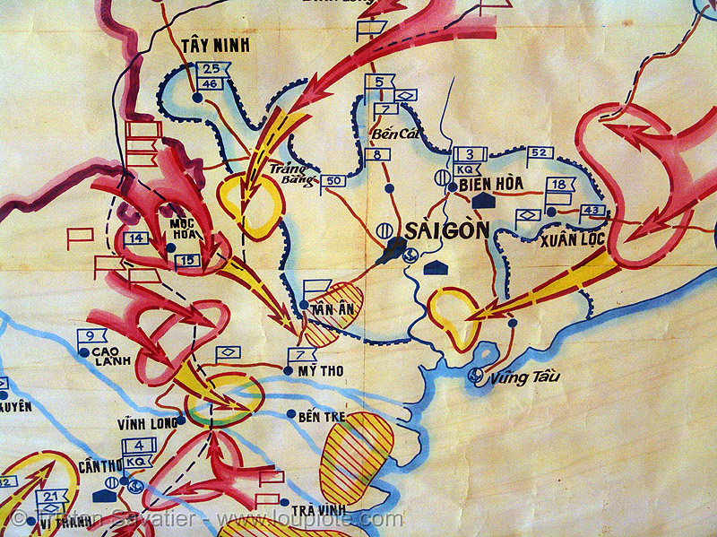 battle of saigon - war map, army, army museum, arrows, hanoi, maps, military, red, vietnam war, war maps, yellow