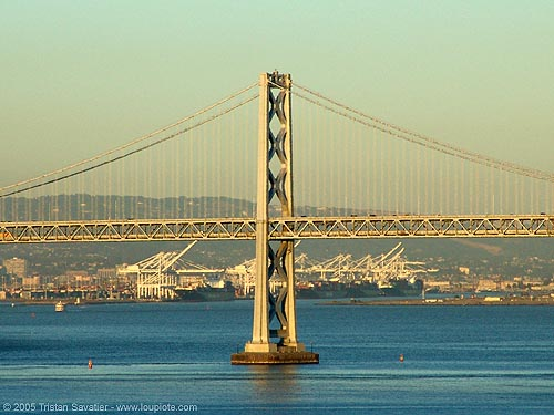 bay bridge (san francisco), bay bridge, bridge pillar, bridge tower, infrastructure, oakland harbor, suspension bridge