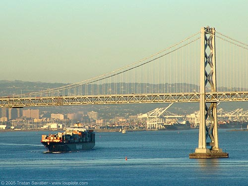 bay bridge (san francisco), bay bridge, boat, bridge pillar, bridge tower, cargo container ship, cargo ship, infrastructure, oakland harbor, suspension bridge