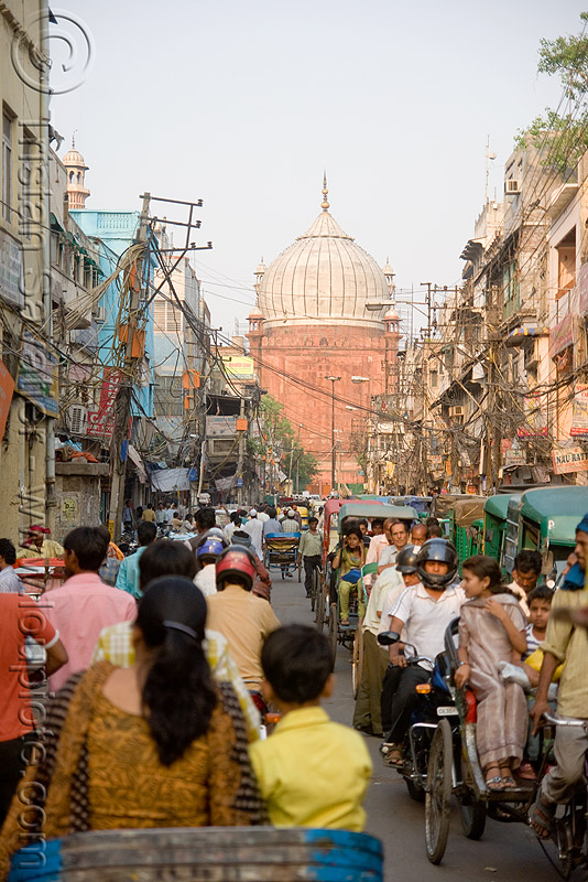 bazar near jama masjid in old delhi (india), bazar, delhi, islam, jama masjid mosque, street