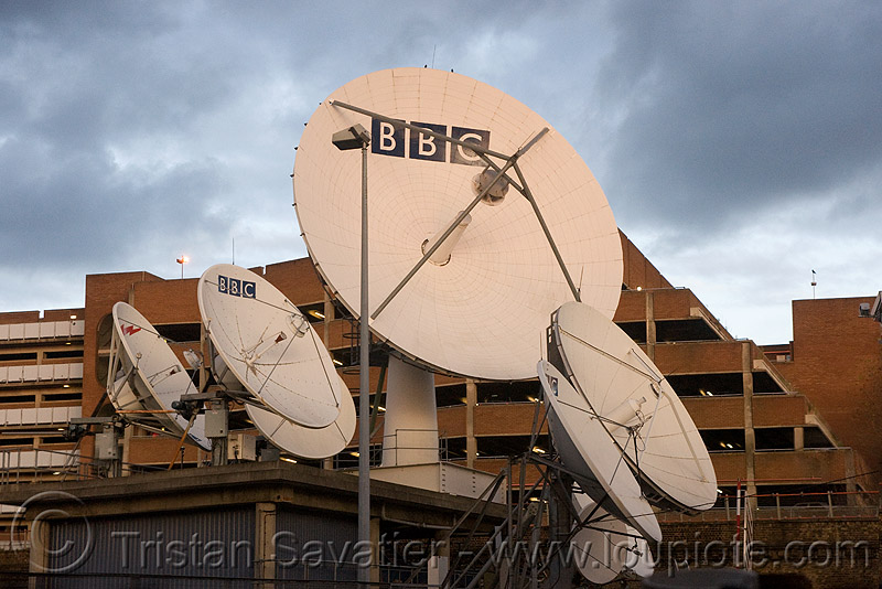 BBC satellite dishes - parabolic antennas - BBC television centre - broadcast station (london), antennas, bbc television centre, bbc tv center, broadcast station, dishes, london, parabolic, satellite dish, tvc