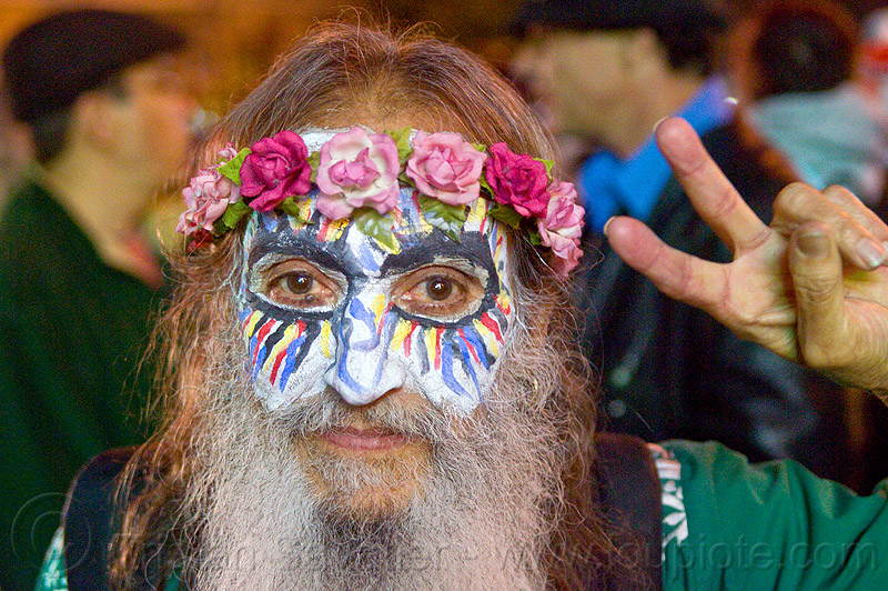 bearded man - painted mask - flowers crown, day of the dead, dia de los muertos, face painting, facepaint, halloween, hippie, man, night, painted mask, peace sign, pink flowers crown, sugar skull makeup, white beard