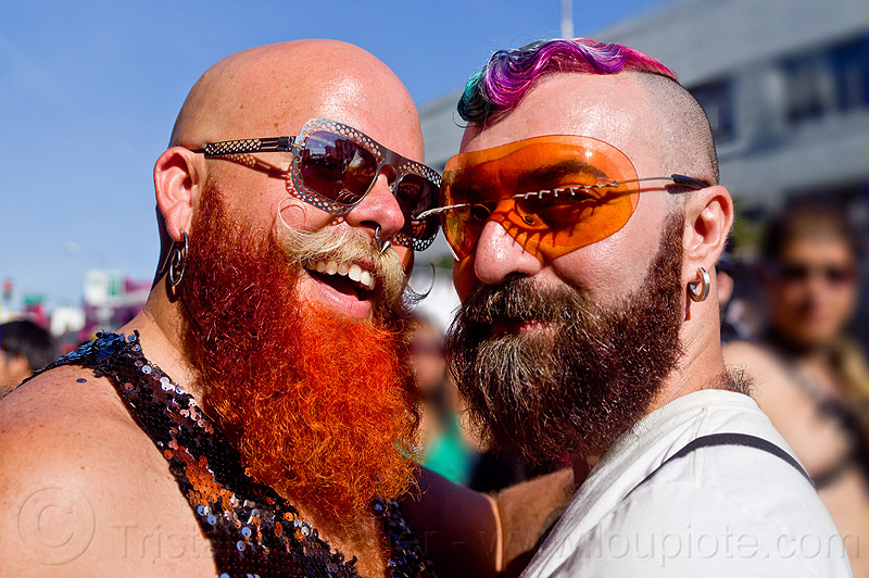 bearded men - dusti cunningham and friend, bald, diablodivine, dusti cunningham, friends, men, red beard, sunglasses