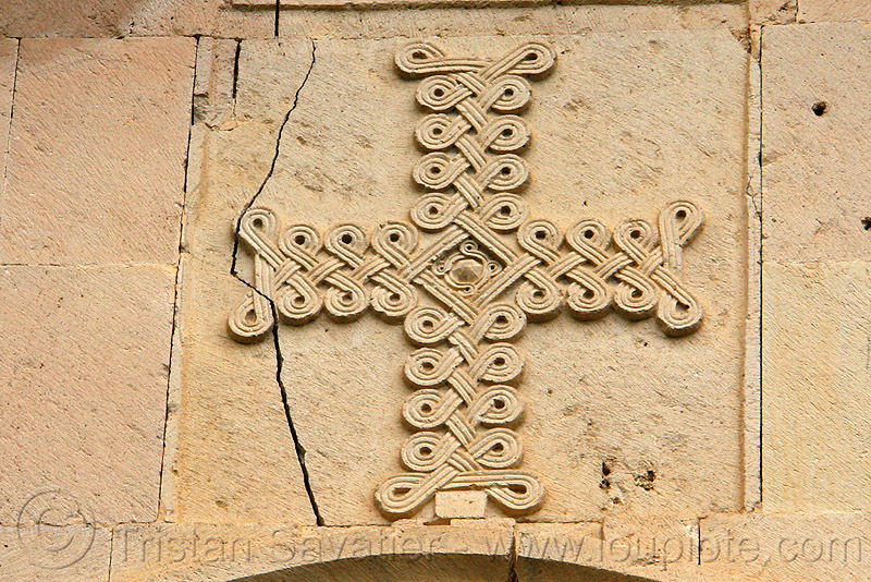 cross low-relief - Işhan monastery - georgian church ruin (turkey), architecture, byzantine, byzantine architecture, carving, decoration, detail, geometric, ishan, ishan monastery, işhan, işhan church, motives, orthodox, orthodox christian, religion, ruins, stone