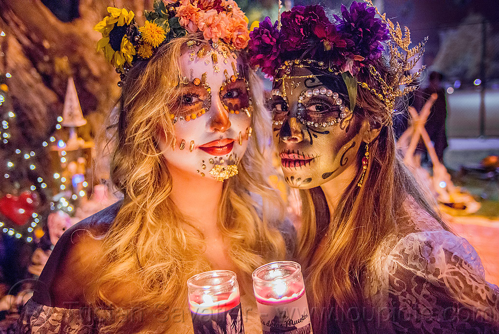 beautiful sugar skull makeup - dia de los muertos, andrea, bindis, candle light, candles, day of the dead, dia de los muertos, face painting, facepaint, flower headdress, flowers, halloween, mariana, night, sugar skull makeup, women