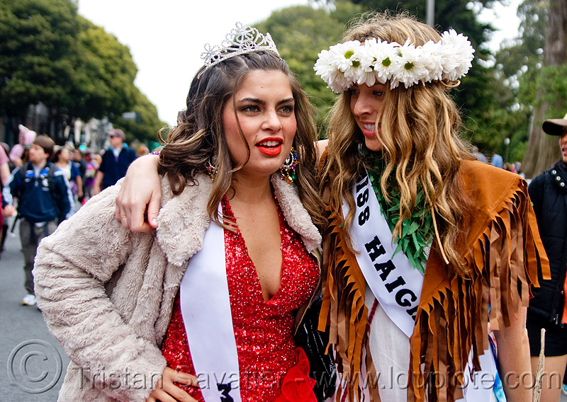 beauty queens - miss haight, banners, bay to breakers, beauty queens, crowns, festival, flower crown, footrace, miss haight, street party, two, woman