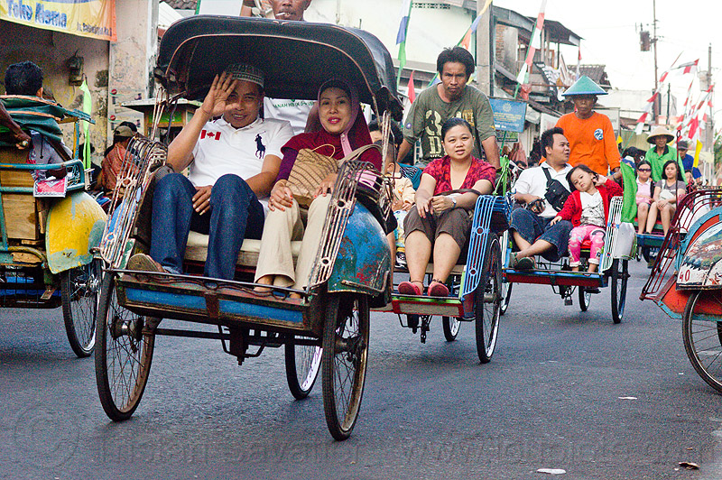 becaks (cycle rickshaws), becaks, cycle rickshaws, java, jogja, jogjakarta, street, yogyakarta