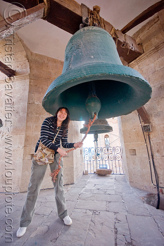 bell ringing, bells, belltower, brass, campanil, catedral de potosí, cathedral, church tower, graciela, potosí, ringing, woman