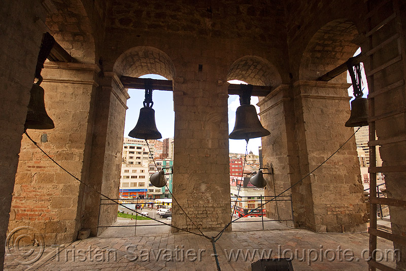 bells of the san francisco church - la paz (bolivia), basílica de san francisco, basílica san francisco, bell tower, bells, campanil, church tower, iglesia de san francisco, iglesia san francisco, la paz, ropes, san francisco church