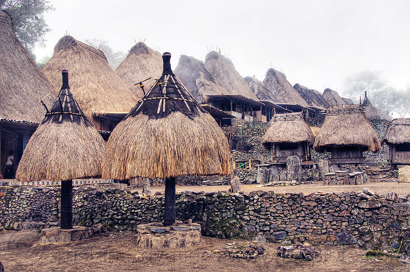 bena traditional village (flores island), bena, cemetery, flores island, fog, foggy, houses, huts, indigenous culture, indonesia, spirits, totems, tribal, tribe, village