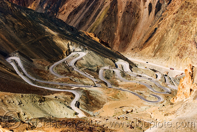 bends - road switch-backs, bends, curves, india, ladakh, mountain road, switch-backs, turns, winding road