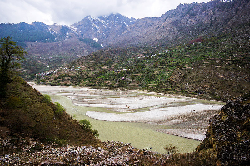 bhagirathi river bed (india), bhagirathi river, bhagirathi valley, india, mountains, river bed