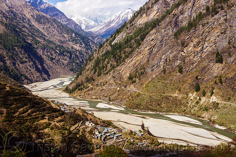 bhagirathi river valley near sunagar (india), bhagirathi river, bhagirathi valley, mountains, river bed, sunagar, village, water