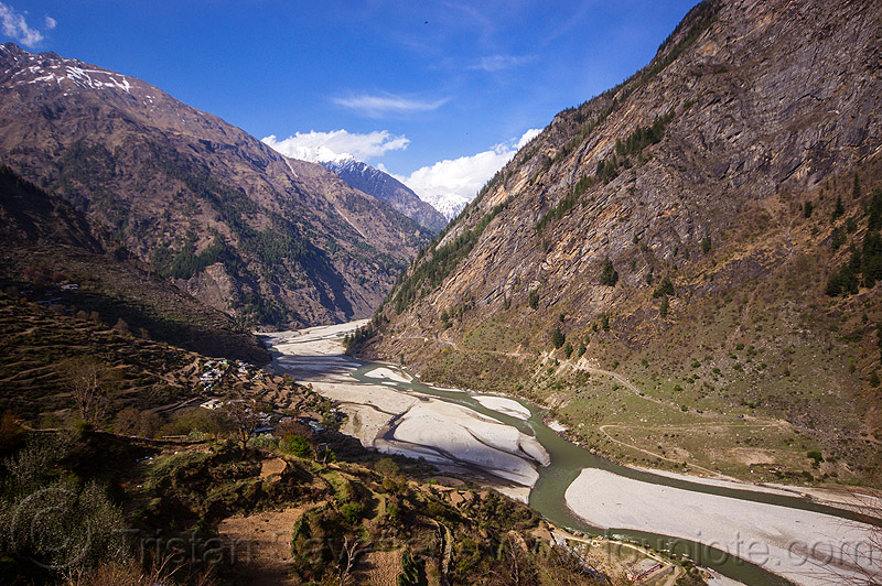bhagirathi river on the road to gangotri (india), bhagirathi river, bhagirathi valley, mountains, river bed, sunagar, village, water
