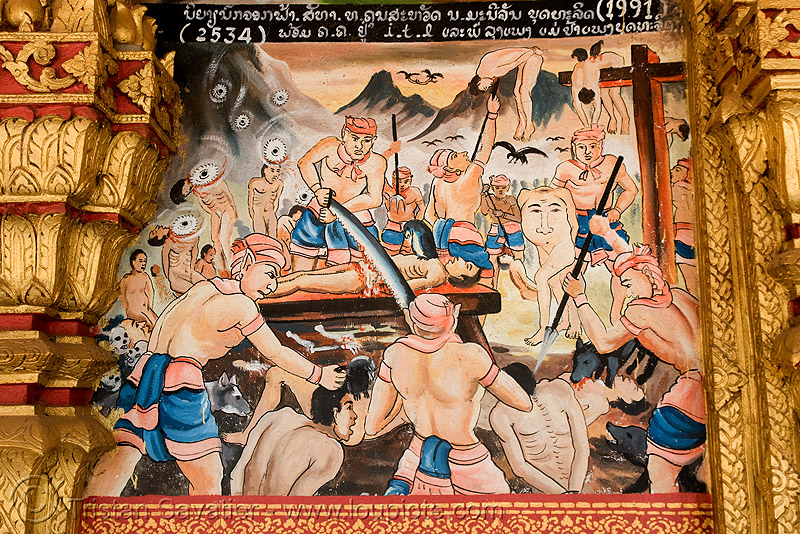 biblical torture scene on temple - luang prabang (laos), buddhism, buddhist temple, image, painting